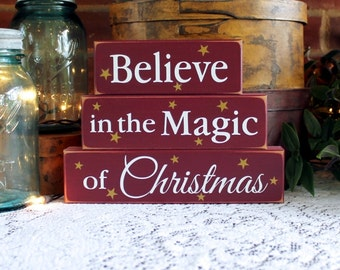 Believe in the Magic of Christmas Shelf Sitter Blocks Decoration for Holiday Signs Wood Christmas Stacking Blocks