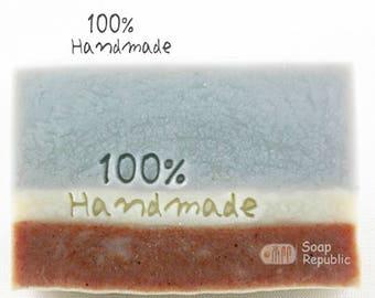SoapRepublic '100% Handmade' Acrylic Soap Stamp / Cookie Stamp / Clay Stamp