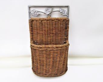 Vintage Wicker Wall Basket | Letter Holder | Wall Pocket | Wicker Caddy | Bohemian Wall Hanging | Metal Frame Basket | Countertop Basket