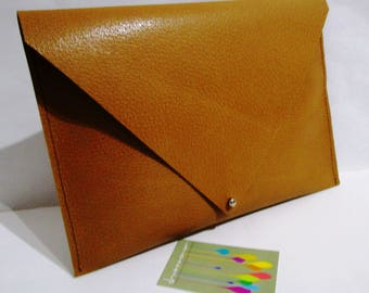 Ochre-coloured leather clutch bag, tablet holder