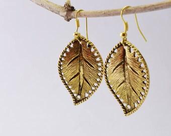 Leaf Earrings, Brass Leaf Earrings, Gold Leaf Earrings Jewelry, Sterling Silver Leaf Earrings, 14k Gold Leaf Earrings, Gift For Women