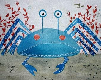Blue crab, original watercolor, children's art, whimsical art, beachy, bathroom art, coral, ocean, cancer the crab, matted art, beach house