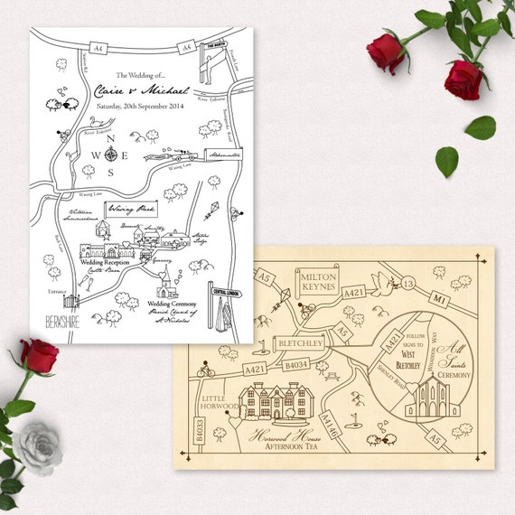 Wedding Invitations With Maps: Printable Custom Map Wedding Invitation Save The Date Or Info