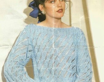 Knitting Pattern Ladies/Woman's/Girls Sweater/Jumper/Pullover DK/Light Worsted Boat Neck Lace Work  Size 30-40in 75-100cm