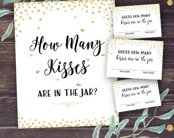 Guess How Many Kisses, Bridal Shower Games Printable, Gold Confetti Bridal Shower, Wedding Shower Guessing Activity Instant Download, Diy