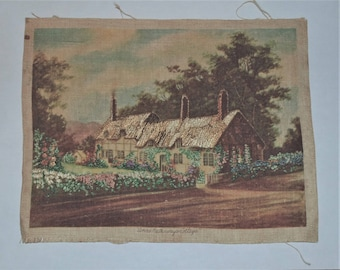"Completed Embroidery Needlecraft Project - ANNE HATHAWAY'S COTTAGE - 7""X8-3/4'"