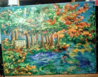 "Original Impressionist Oil Acrylic PLEINE AIRE Painting 30"" X 40"" CANVAS Outdoors Autumn Trees Countyside Fall In Love Joan Harris WorldWide"
