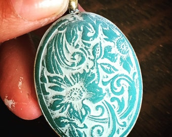 SOLD~ Limited Edition ~ Hand Made Cabochon in Deep Teal Clay Washed in White set in Brass with coordinating chain.  By: Brooke Baker
