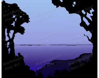 Digital Download Print Yourself - Silhouette No5  Blue and black