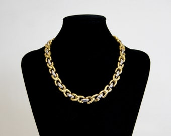 NINA RICCI Paris Vintage White and Yellow 18ct Gold Plated Necklace