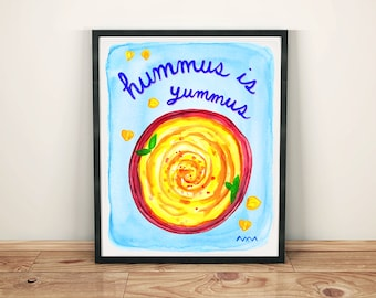 Hummus Watercolor Print, Restaurant Home Decor Poster Wall Art Vegan Vegetarian Gift Blue Yellow Chickpea Funny Pun Bistro Cafe Design