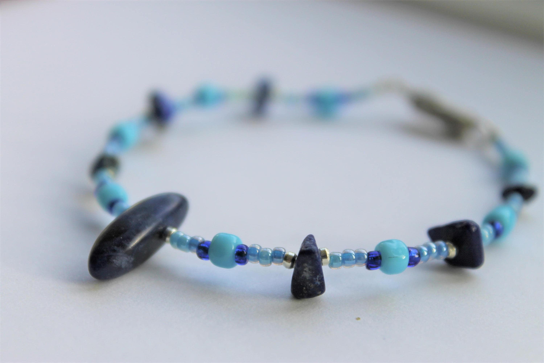 Jagged Blue Bracelet Blue Bead Bracelet Wire Bead Bracelet