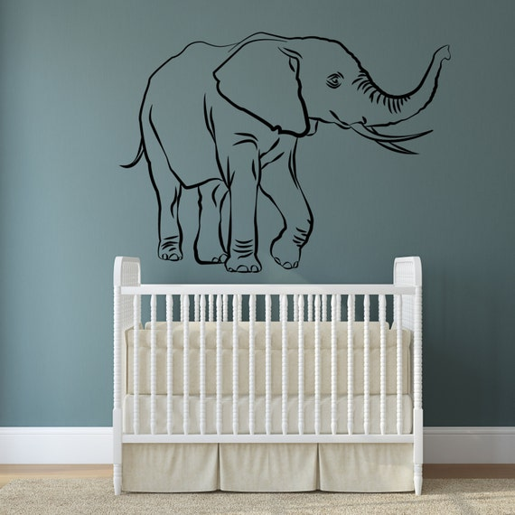 Vinyl wall decal lucky elephant trunk up african wise wealth trumpeting animal art home sticker feng shu mural free decal gift