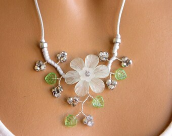 Light gray Flower necklace