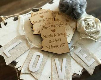 50 Wedding Favor, Arizona Wedding Favor State Magnets - Bride, Groom, Gift, Save the Date, Rustic, Custom, United States Magnets
