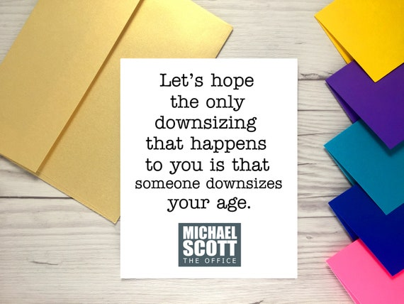 Downsize your age card the office birthday card michael like this item bookmarktalkfo Images