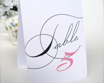 Folded table numbers, wedding table numbers, table number cards, tent style table numbers, wedding decor, wedding reception (tn1)