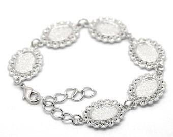 6 Cabochons oval lace bracelet