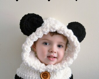 Panda Bear Hat - Panda Bear Hoodie - Panda Bear Cowl - Animal Hat - Hooded Scarf - Chunky Crochet Hat - Animal Scarf