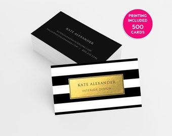 Gold Striped Printed Business Cards - business cards,business card design,custom business card,cards,printing,hair,black and white,gold,lips