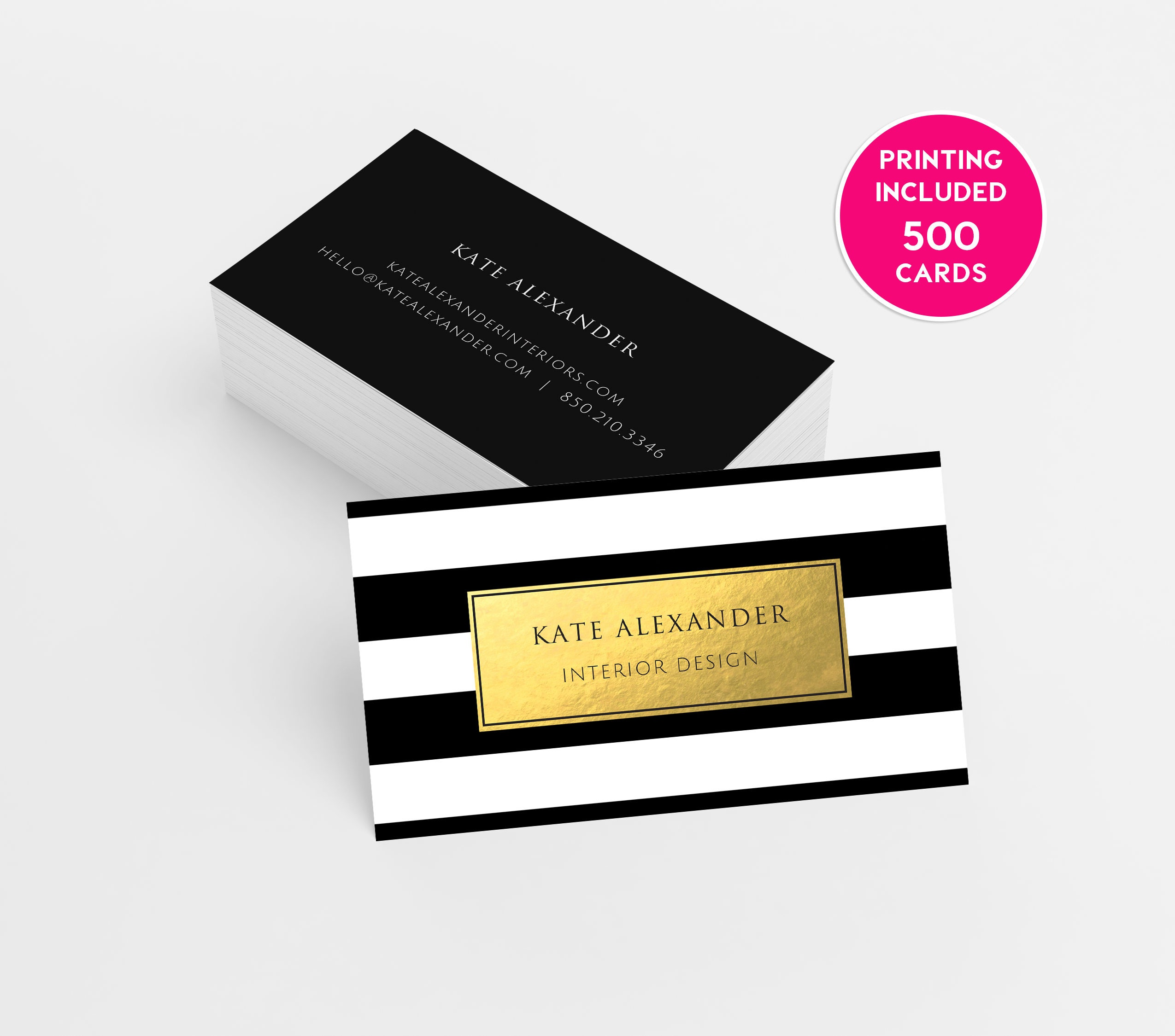 Gold Striped Printed Business Cards business cardsbusiness