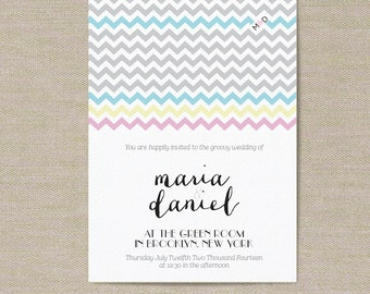 Wedding Invitations - Chevron Pattern - Customize for your special day!