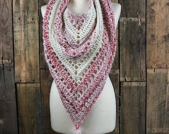 Bulky Boho Triangle Scarf | Pink Boho Scarf | Pink and Off White Shawl | Women's Winter Tassle Scarf | Gift for Her | Ready to Ship