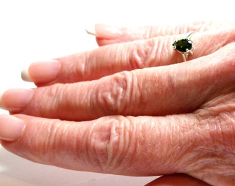 """Chrome diopside, green pear ring, chrome diopside  ring, solitaire ring, green ring, s 5 1/2   """"Weeping Willow"""""""