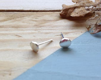 Organic studs, Pebble studs, Dainty earrings, Minimal earrings, Sterling silver stud, Recycled silver, Recycled packaging, Eco friendly.