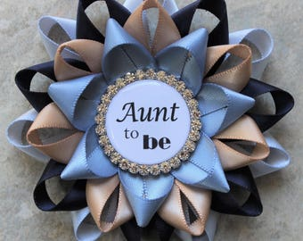 Boy Baby Shower Pins, Rustic Baby Shower Decorations, Aunt to Be, Grandma to Be Pin, Ice Blue, Navy Blue, Champagne, French Blue