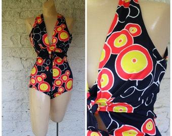 1970s Mod Swimsuit / One Piece Swimsuit / Vintage Swimsuit / Navy Blue Swimsuit /  Pin Up Swimsuit / Vintage 70s Mod Circle Swimsuit  S/M