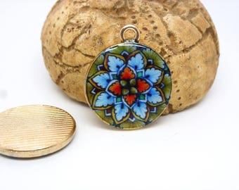 mandala di 2 charms buddista 22 * 18 millimetri di vetro Mostra verde/blu/arancio - oro base (8SBC07)