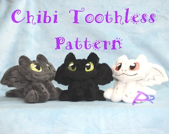 Pattern for Chibi Toothless Plush -In The Hoop Pattern and Printable Pattern-