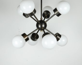 Burst 8 - Sputnik inspired modern brass chandelier