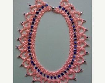ON SALE Necklace Beaded Necklace Salmon Ceylon