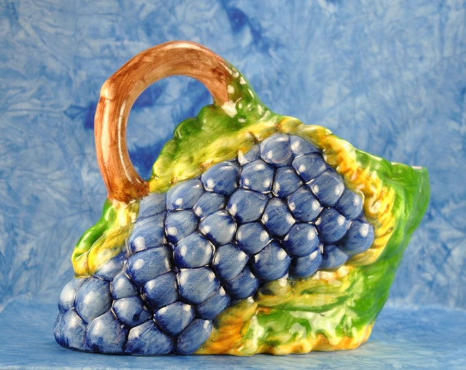 Vintage Majolica Grapes Pitcher, Bassano Ceramics, Made in Italy