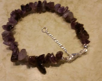 925 Sterling Silver and Amethyst Chip Bracelet,
