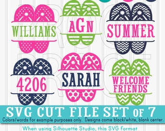 SVG Files Flip Flop SVG Set includes 7 cutting files With Blank Center {SVG/png/jpg} beach svg monogram summer svg {colors for display only}