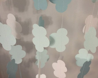 CLOUDS Garland 2 Light Blues Shades, White 10 ft Paper Garland- Party Decorations, Birthday, Baby Shower