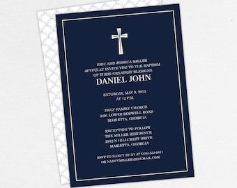 Baptism Invitation, Christening Invitation, Boy Baptism, Neutral Baptism, Printable Baptism Invitation, Printed, PDF, Modern, Navy, Daniel