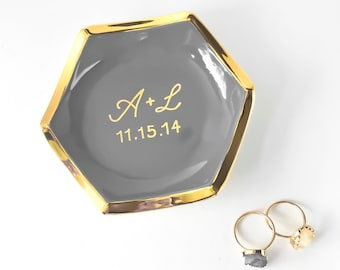Personalized Hexagon Ring Dish,  Gold Monogrammed Ring Holder, Engagement Gift, Modern Mud Gray and Gold Ring Holder