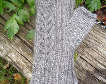 Hand knit laced backed wristers in wool