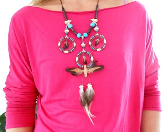 "Necklace feathers ""Trio"""