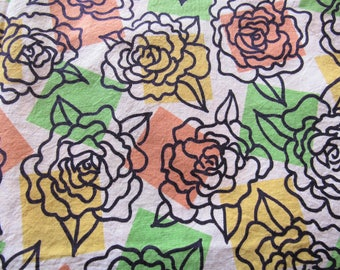 vintage FULL feed sack fabric -- yellow, orange and green floral print