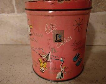 Vintage Mid Century Modern Loft Candies Pink Metal Tin/ Container