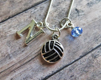 Volleyball Necklace, Volleyball Charm Necklace, Volleyball Pendant Necklace, Initial Charm, Personalized, Volleyball Team Gift