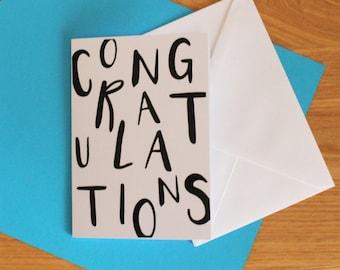Congratulations card, fun, quirky lettering Congrats card,