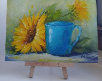 Coffee Bar Decor, Sunflower & Blue Cup, Small Works, Original Oil Painting, 5 X 7