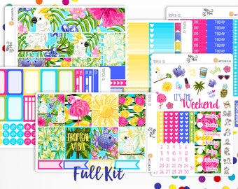 Tropical Vibes- VERTICAL WEEKLY KIT planner stickers;  Summer, Beach, Vacation