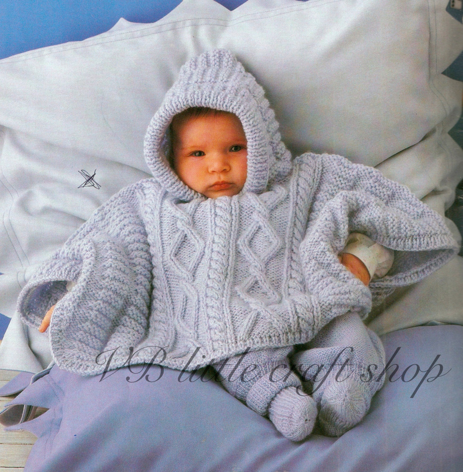 Baby\'s hooded poncho knitting pattern. 3 sizes from ...